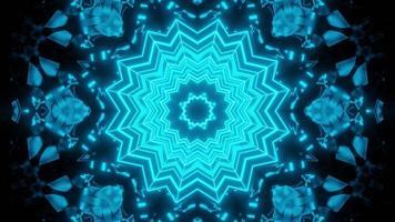 Blue floral 3D kaleidoscope design illustration for background or texture