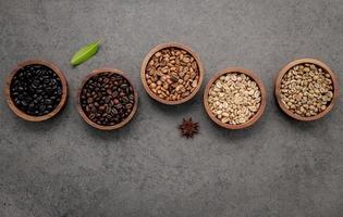 Wood bowls of coffee
