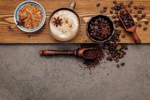 vista superior de café con sabor foto