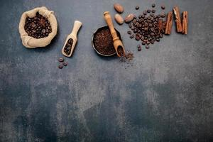 Coffee beans on a dark gray background