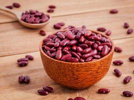 Red kidney beans in wooden bowl