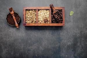 caja de granos de cafe foto