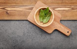 Bay leaves on a cutting board