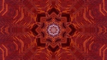 Red and blue floral 3D kaleidoscope design illustration for background or texture