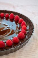 Delicious dark chocolate cake with raspberries
