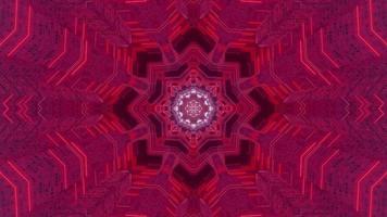 Ilustración de diseño de caleidoscopio 3d floral azul y púrpura para fondo o textura