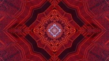 Ilustración de diseño de caleidoscopio 3d azul, rojo y naranja para fondo o textura