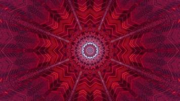 Ilustración de diseño de caleidoscopio 3d floral rojo, azul y morado para fondo o textura