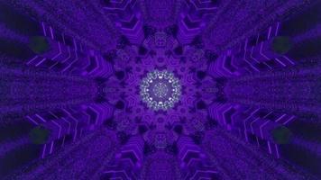 Ilustración de diseño de caleidoscopio 3d de copo de nieve azul y púrpura para fondo o textura