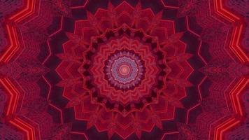 Ilustración de diseño de caleidoscopio 3d floral azul y rojo para fondo o textura