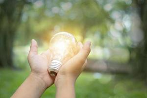 Person holding light bulb photo