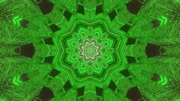 Green and gray floral 3D kaleidoscope design illustration for background or texture
