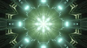 Green 3D kaleidoscope design illustration for background or texture