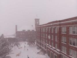 Northern Wisconsin University with snow