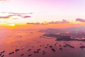 Sunset over the sea at Hong Kong city, China