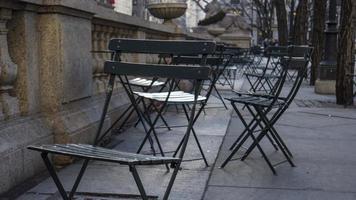 Green folding metal chairs photo