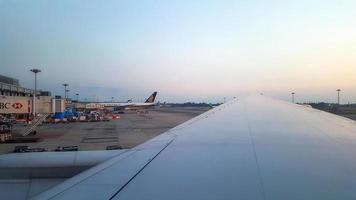 View of Singapore Changi Airport seen from airplane window photo