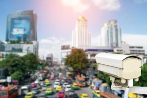 Traffic security camera overlooking out of focus traffic