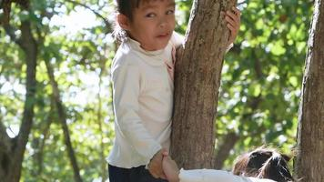 Two adorable little girls in long sleeve T-shirts climb a tree outdoor