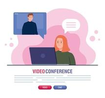 couple in a video conference via laptop vector