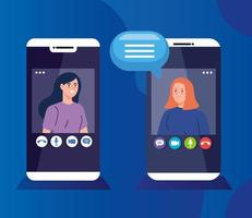 young women in a video conference via smartphones vector
