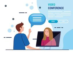 couple in a video conference via laptop banner template vector