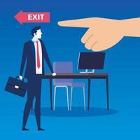 Triste empresario desempleado en una escena de trabajo vector