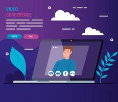 young man in a video conference via laptop vector