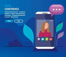 young woman in a video conference via smartphone vector