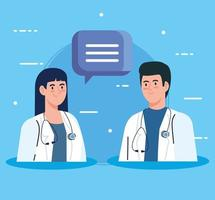 Doctors with stethoscope and speech bubble