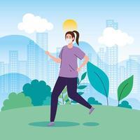 mujer corriendo al aire libre con una mascarilla vector