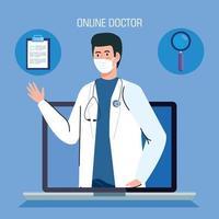 Doctor en la computadora portátil, concepto de medicina en línea con iconos médicos