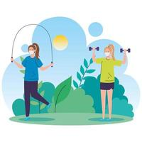 Women exercising outdoors with face masks vector