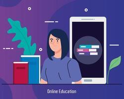 tecnología de educación en línea con mujer y teléfono inteligente vector