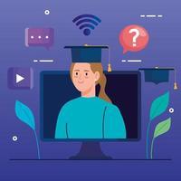tecnología de educación en línea con mujer y computadora. vector