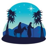 Merry Christmas and nativity with Mary and Joseph vector