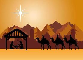 feliz navidad y natividad con maría, josé, niño jesús y los tres magos vector
