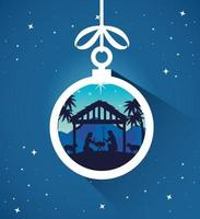 Merry Christmas and nativity with Mary, Joseph and baby Jesus ornament vector