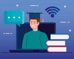 tecnología de educación en línea con hombre y computadora portátil vector