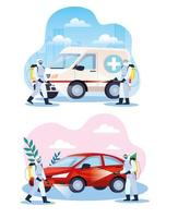 vehicles being disinfected during coronavirus pandemic