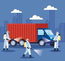 Truck being disinfected during coronavirus pandemic