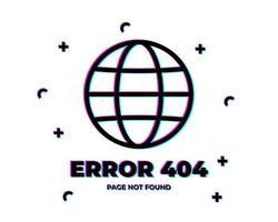 error 404 glitch planet vector