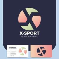 deporte letra x logotipo y tarjeta de visita