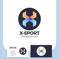 Letra x logotipo deportivo y tarjeta de visita.