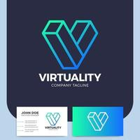 letter v line style icon and business card vector