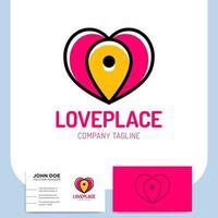 love heart and pin icon and business card vector
