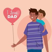 feliz día del padre tarjeta de felicitación con papá llevando a su hijo vector