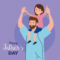 feliz día del padre tarjeta de felicitación con papá llevando a su hija vector