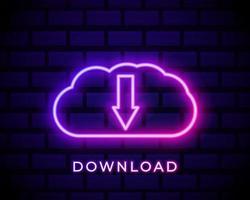 Download Cloud neon icon vector