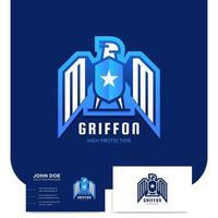 Griffon bird security icon and business card vector